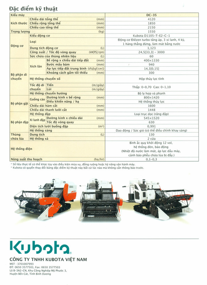 Thông số kỹ thuật của máy gặt Kubota DC35 Việt Nam