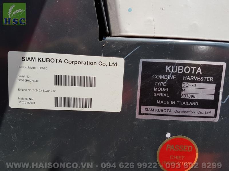 Máy gặt đập liên hợp Kubota DC70 Thái Lan